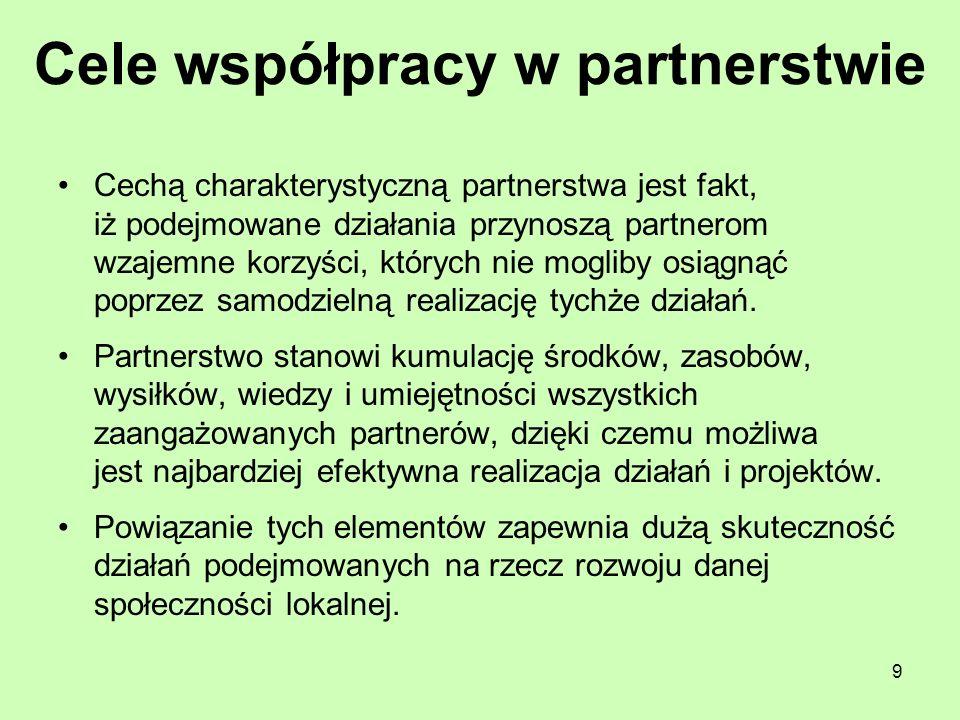 9 Cele współpracy w partnerstwie Cechą charakterystyczną partnerstwa jest fakt, iż podejmowane działania przynoszą partnerom wzajemne korzyści, któryc