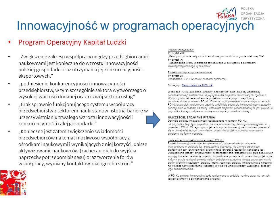 Innowacyjność w programach operacyjnych Program Operacyjny Kapitał Ludzki Zwiększenie zakresu współpracy między przedsiębiorcami i naukowcami jest kon