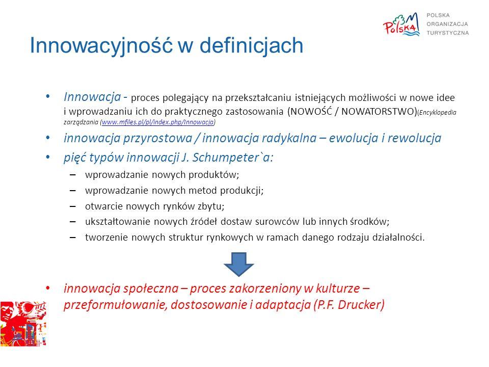 Innowacyjność w definicjach Innowacja - proces polegający na przekształcaniu istniejących możliwości w nowe idee i wprowadzaniu ich do praktycznego zastosowania (NOWOŚĆ / NOWATORSTWO) (Encyklopedia zarządzania (www.mfiles.pl/pl/index.php/Innowacja)www.mfiles.pl/pl/index.php/Innowacja innowacja przyrostowa / innowacja radykalna – ewolucja i rewolucja pięć typów innowacji J.