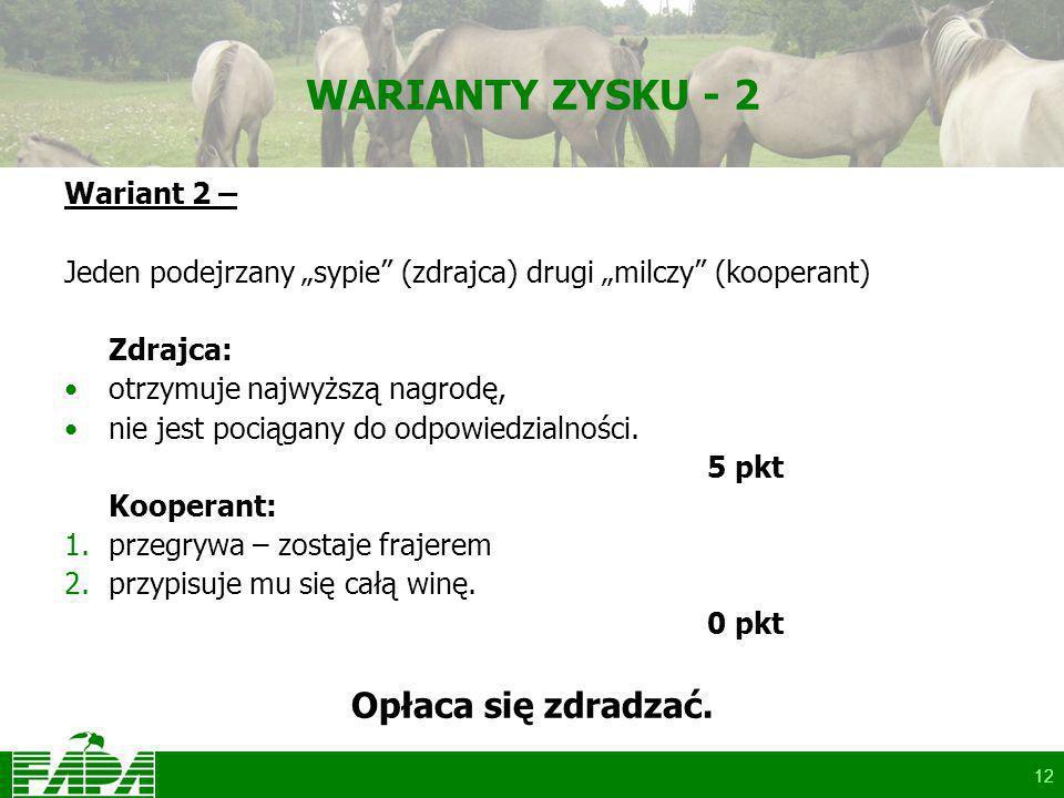 12 WARIANTY ZYSKU - 2 Wariant 2 – Jeden podejrzany sypie (zdrajca) drugi milczy (kooperant) Zdrajca: otrzymuje najwyższą nagrodę, nie jest pociągany do odpowiedzialności.