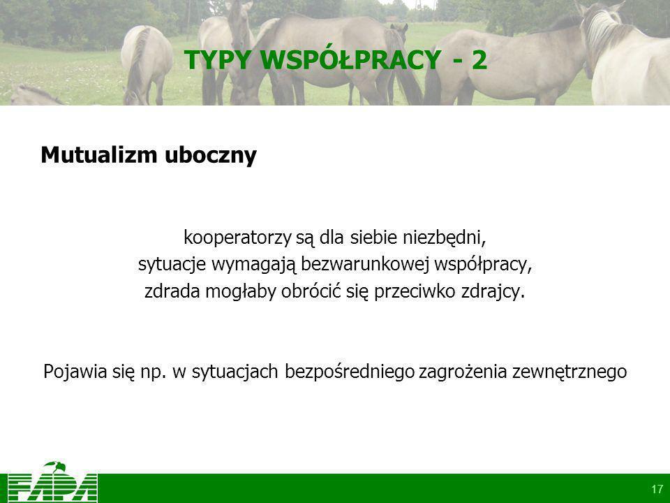 17 TYPY WSPÓŁPRACY - 2 Mutualizm uboczny kooperatorzy są dla siebie niezbędni, sytuacje wymagają bezwarunkowej współpracy, zdrada mogłaby obrócić się przeciwko zdrajcy.