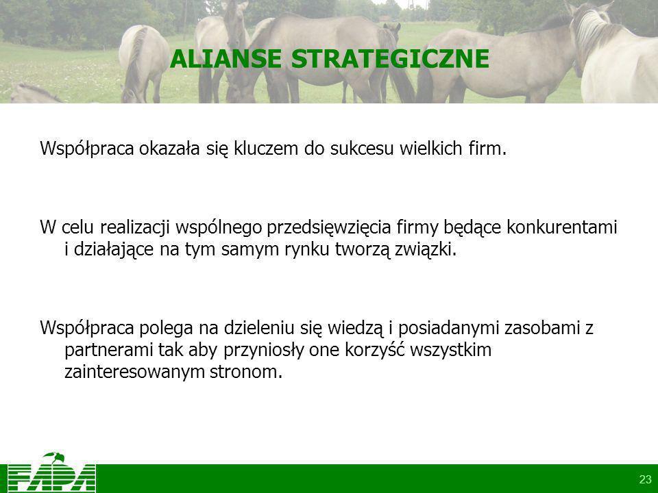 23 ALIANSE STRATEGICZNE Współpraca okazała się kluczem do sukcesu wielkich firm.