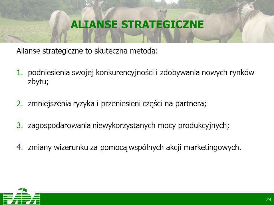 24 ALIANSE STRATEGICZNE Alianse strategiczne to skuteczna metoda: 1.podniesienia swojej konkurencyjności i zdobywania nowych rynków zbytu; 2.zmniejszenia ryzyka i przeniesieni części na partnera; 3.zagospodarowania niewykorzystanych mocy produkcyjnych; 4.zmiany wizerunku za pomocą wspólnych akcji marketingowych.