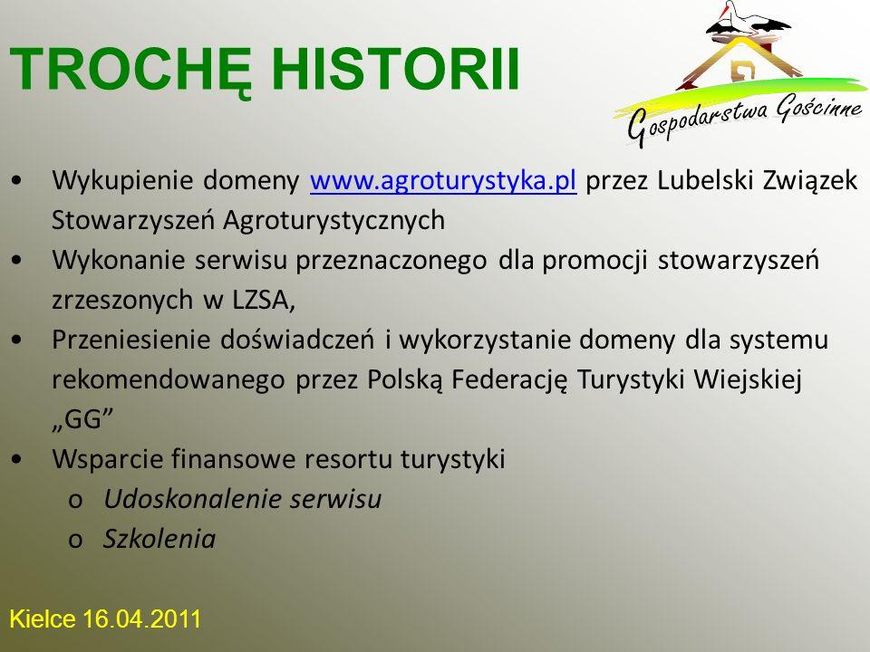 Kielce 16.04.2011 Wykupienie domeny www.agroturystyka.pl przez Lubelski Związek Stowarzyszeń Agroturystycznychwww.agroturystyka.pl Wykonanie serwisu p