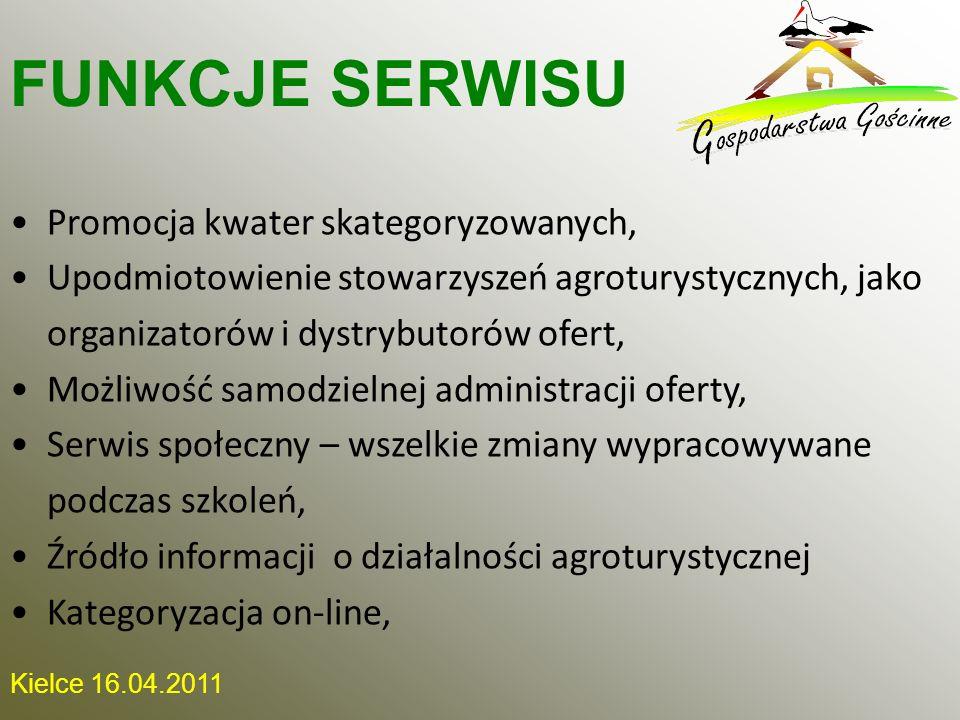 Kielce 16.04.2011 Promocja kwater skategoryzowanych, Upodmiotowienie stowarzyszeń agroturystycznych, jako organizatorów i dystrybutorów ofert, Możliwo