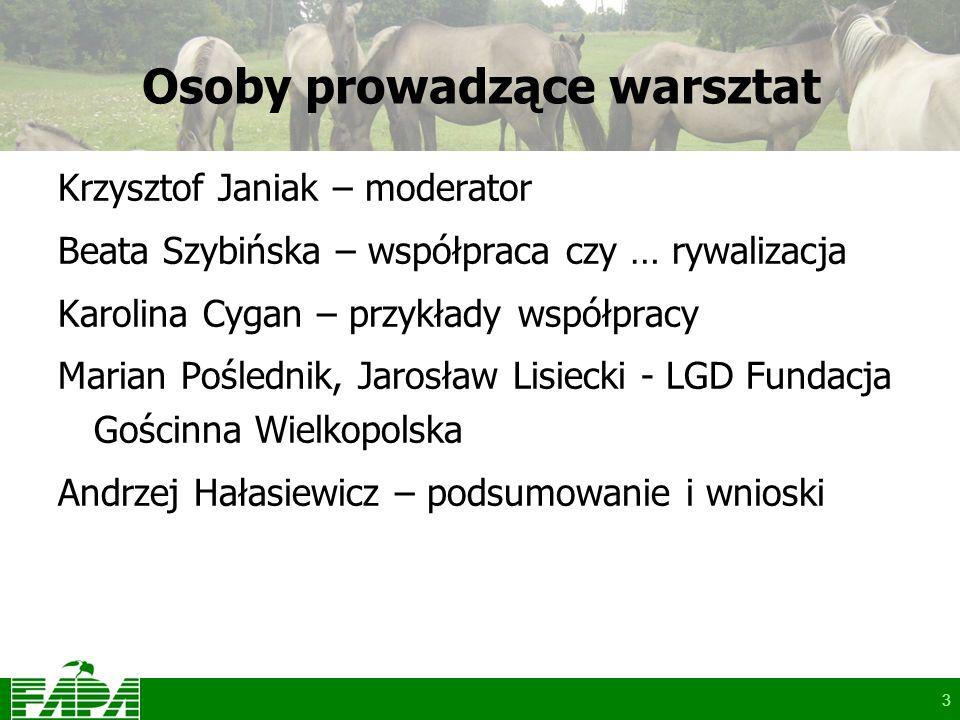 3 Osoby prowadzące warsztat Krzysztof Janiak – moderator Beata Szybińska – współpraca czy … rywalizacja Karolina Cygan – przykłady współpracy Marian P