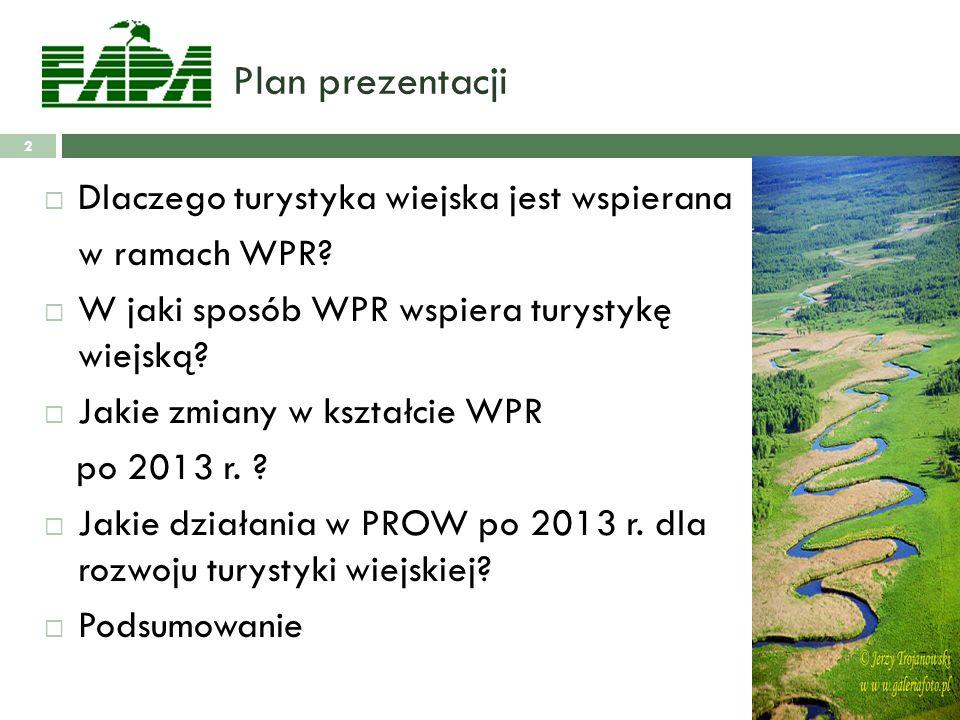 Plan prezentacji Dlaczego turystyka wiejska jest wspierana w ramach WPR.