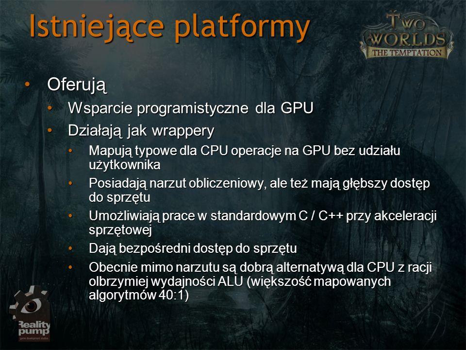 Istniejące platformy OferująOferują Wsparcie programistyczne dla GPUWsparcie programistyczne dla GPU Działają jak wrapperyDziałają jak wrappery Mapują