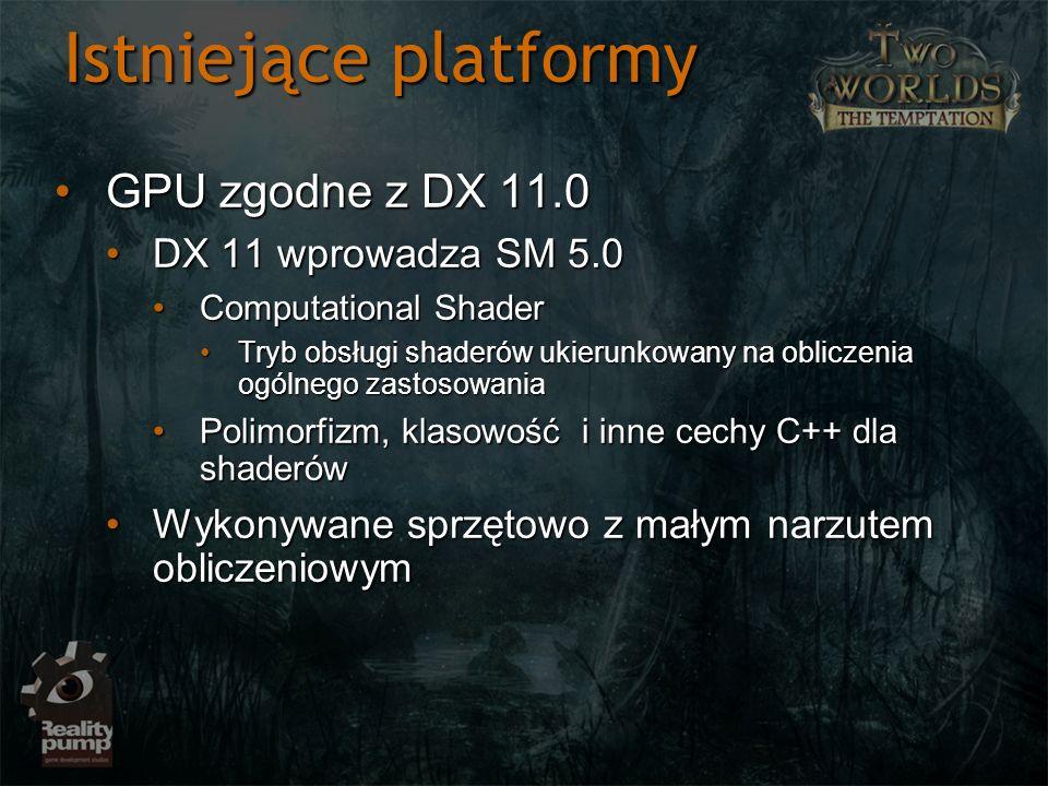 Istniejące platformy GPU zgodne z DX 11.0GPU zgodne z DX 11.0 DX 11 wprowadza SM 5.0DX 11 wprowadza SM 5.0 Computational ShaderComputational Shader Tr