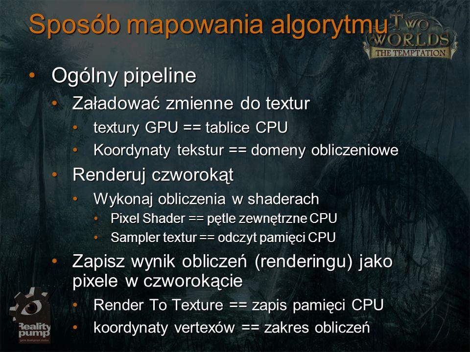 Sposób mapowania algorytmu Ogólny pipelineOgólny pipeline Załadować zmienne do texturZaładować zmienne do textur textury GPU == tablice CPUtextury GPU