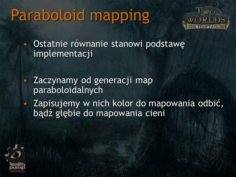 Ostatnie równanie stanowi podstawę implementacjiOstatnie równanie stanowi podstawę implementacji Zaczynamy od generacji map paraboloidalnychZaczynamy od generacji map paraboloidalnych Zapisujemy w nich kolor do mapowania odbić, bądź głębie do mapowania cieniZapisujemy w nich kolor do mapowania odbić, bądź głębie do mapowania cieni Paraboloid mapping