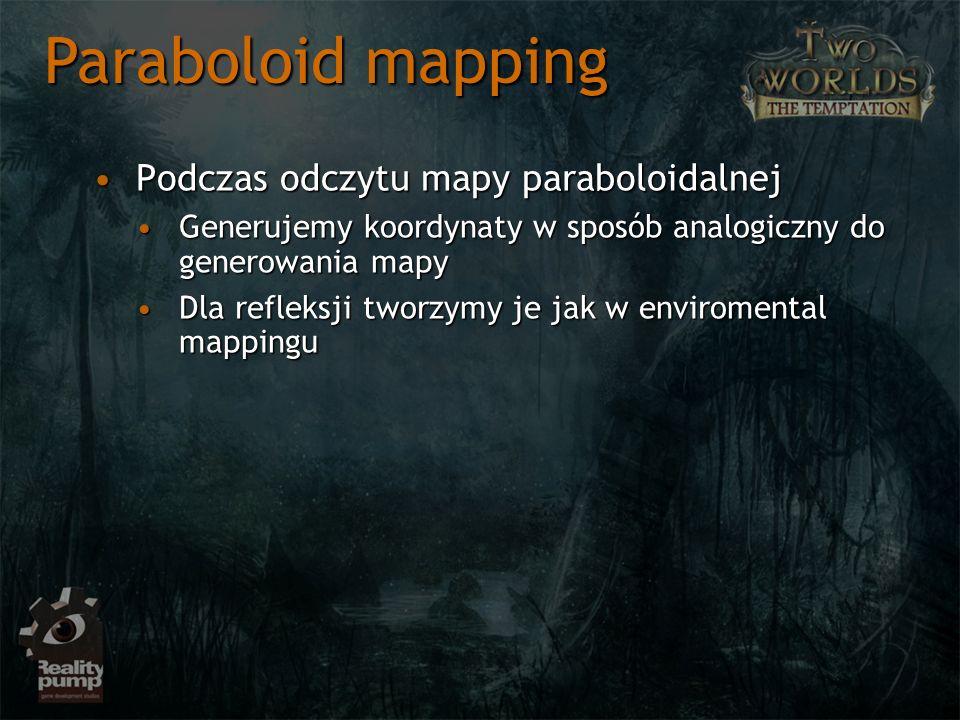 Podczas odczytu mapy paraboloidalnejPodczas odczytu mapy paraboloidalnej Generujemy koordynaty w sposób analogiczny do generowania mapyGenerujemy koordynaty w sposób analogiczny do generowania mapy Dla refleksji tworzymy je jak w enviromental mappinguDla refleksji tworzymy je jak w enviromental mappingu Paraboloid mapping
