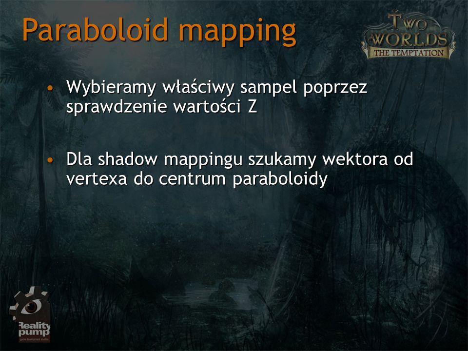 Wybieramy właściwy sampel poprzez sprawdzenie wartości ZWybieramy właściwy sampel poprzez sprawdzenie wartości Z Dla shadow mappingu szukamy wektora od vertexa do centrum paraboloidyDla shadow mappingu szukamy wektora od vertexa do centrum paraboloidy Paraboloid mapping