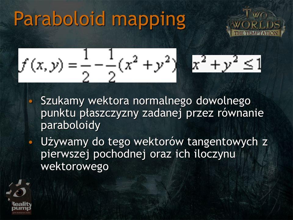 Szukamy wektora normalnego dowolnego punktu płaszczyzny zadanej przez równanie paraboloidySzukamy wektora normalnego dowolnego punktu płaszczyzny zadanej przez równanie paraboloidy Używamy do tego wektorów tangentowych z pierwszej pochodnej oraz ich iloczynu wektorowegoUżywamy do tego wektorów tangentowych z pierwszej pochodnej oraz ich iloczynu wektorowego Paraboloid mapping