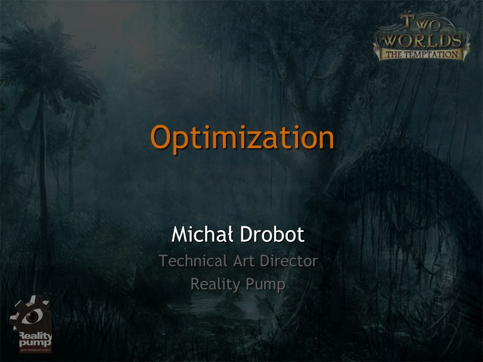 Optimization Michał Drobot Technical Art Director Reality Pump