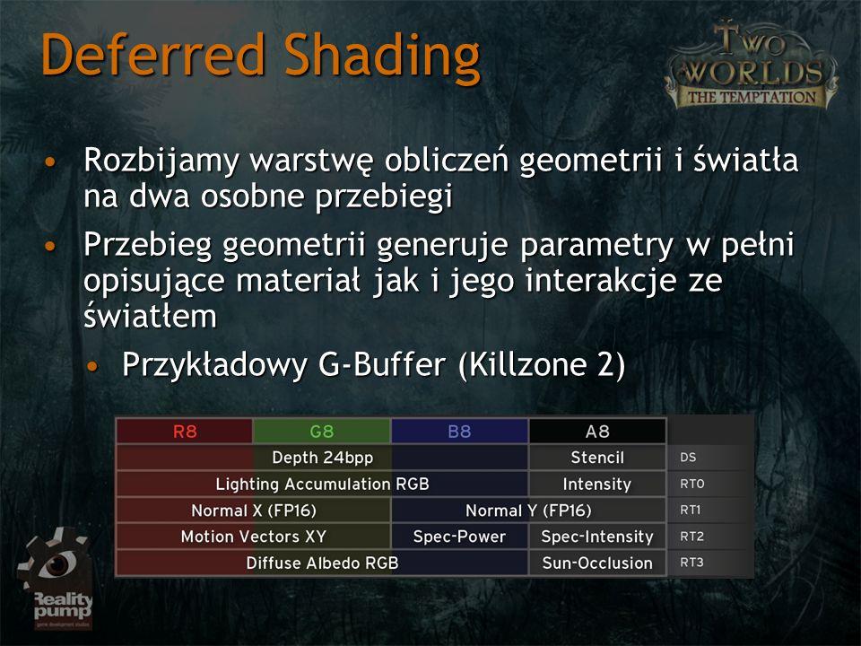 Rozbijamy warstwę obliczeń geometrii i światła na dwa osobne przebiegiRozbijamy warstwę obliczeń geometrii i światła na dwa osobne przebiegi Przebieg geometrii generuje parametry w pełni opisujące materiał jak i jego interakcje ze światłemPrzebieg geometrii generuje parametry w pełni opisujące materiał jak i jego interakcje ze światłem Przykładowy G-Buffer (Killzone 2)Przykładowy G-Buffer (Killzone 2) Deferred Shading