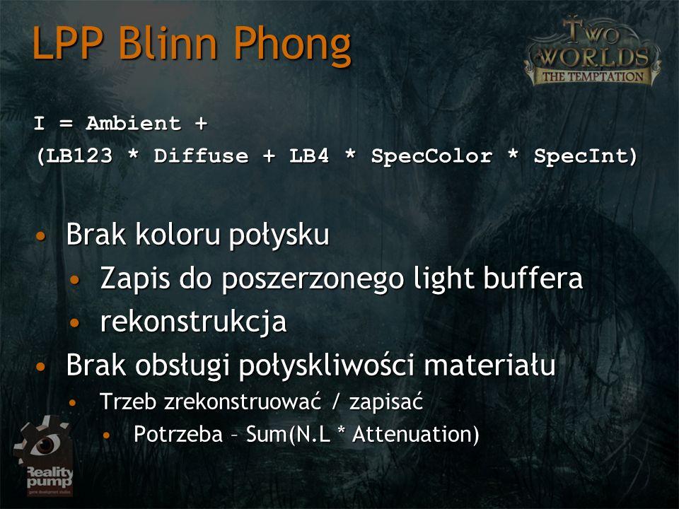 I = Ambient + (LB123 * Diffuse + LB4 * SpecColor * SpecInt) LPP Blinn Phong Brak koloru połyskuBrak koloru połysku Zapis do poszerzonego light buffera