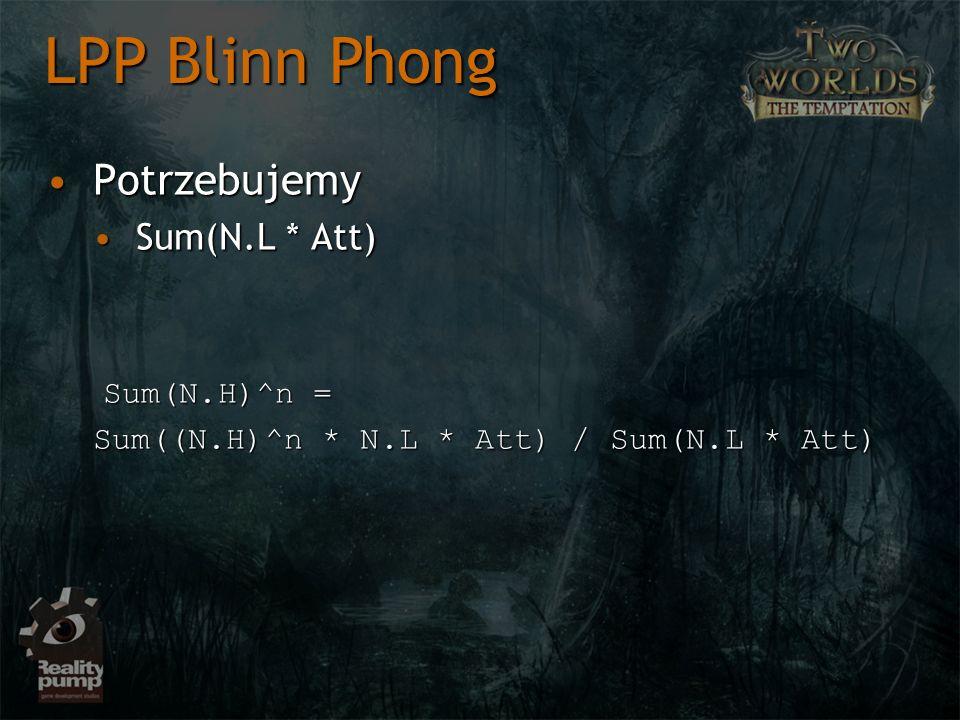 PotrzebujemyPotrzebujemy Sum(N.L * Att)Sum(N.L * Att) Sum(N.H)^n = Sum(N.H)^n = Sum((N.H)^n * N.L * Att) / Sum(N.L * Att) LPP Blinn Phong