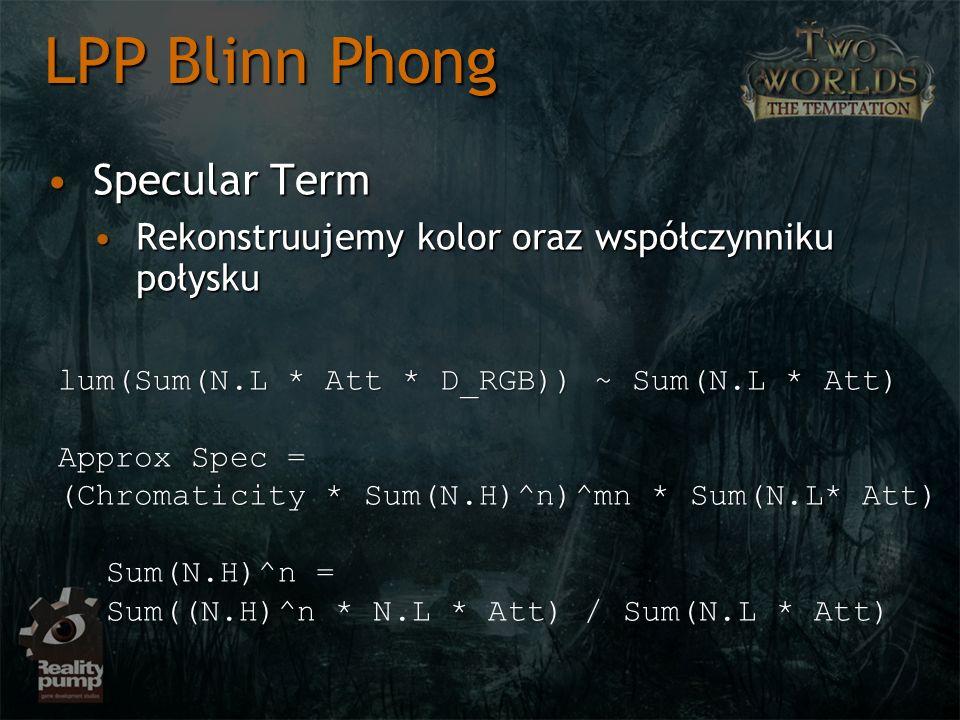 Specular TermSpecular Term Rekonstruujemy kolor oraz współczynniku połyskuRekonstruujemy kolor oraz współczynniku połysku LPP Blinn Phong lum(Sum(N.L