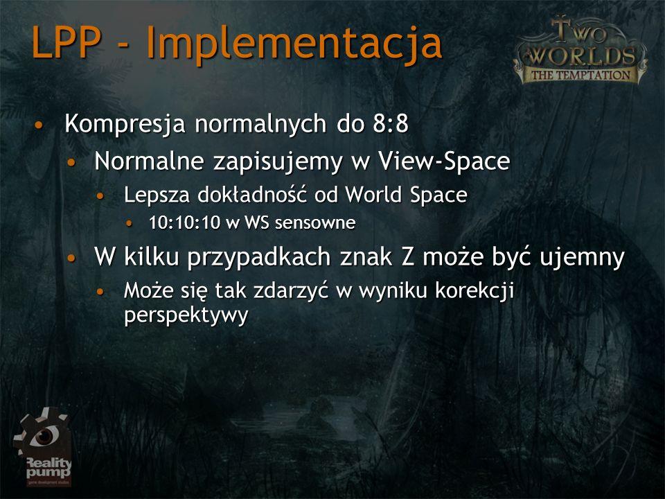 Kompresja normalnych do 8:8Kompresja normalnych do 8:8 Normalne zapisujemy w View-SpaceNormalne zapisujemy w View-Space Lepsza dokładność od World Spa