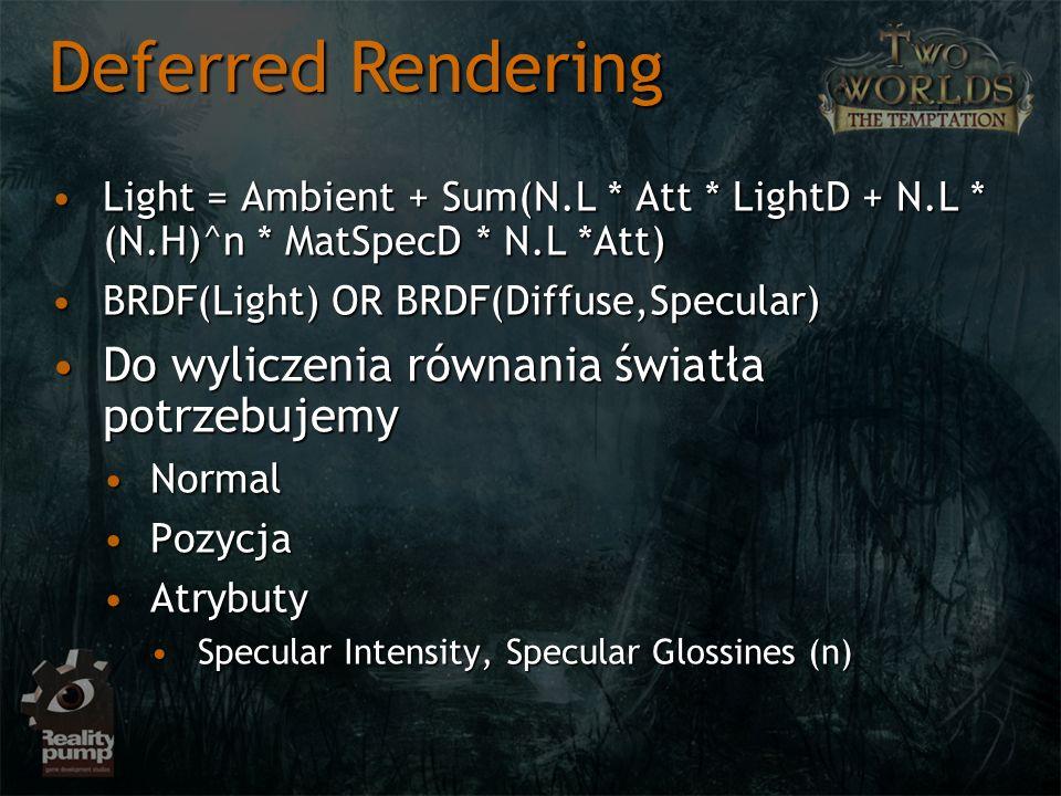 Light = Ambient + Sum(N.L * Att * LightD + N.L * (N.H)^n * MatSpecD * N.L *Att)Light = Ambient + Sum(N.L * Att * LightD + N.L * (N.H)^n * MatSpecD * N.L *Att) BRDF(Light) OR BRDF(Diffuse,Specular)BRDF(Light) OR BRDF(Diffuse,Specular) Do wyliczenia równania światła potrzebujemyDo wyliczenia równania światła potrzebujemy NormalNormal PozycjaPozycja AtrybutyAtrybuty Specular Intensity, Specular Glossines (n)Specular Intensity, Specular Glossines (n) Deferred Rendering