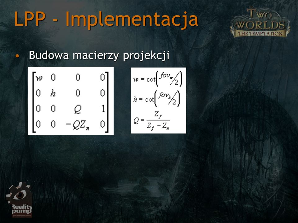 Budowa macierzy projekcjiBudowa macierzy projekcji LPP - Implementacja