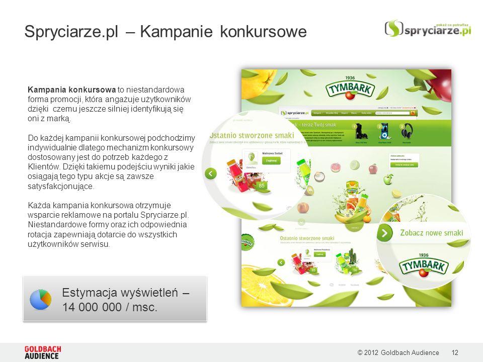 © 2012 Goldbach Audience Spryciarze.pl – Kampanie konkursowe Estymacja wyświetleń – 14 000 000 / msc. Kampania konkursowa to niestandardowa forma prom