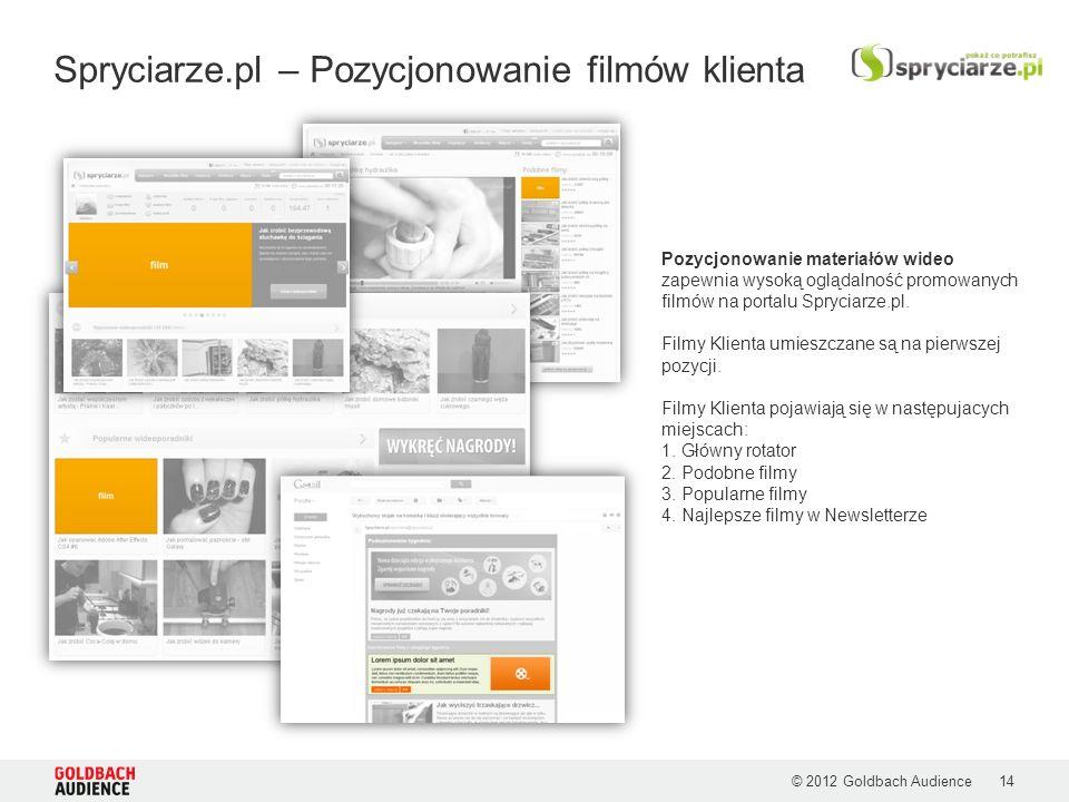 © 2012 Goldbach Audience Spryciarze.pl – Pozycjonowanie filmów klienta Pozycjonowanie materiałów wideo zapewnia wysoką oglądalność promowanych filmów na portalu Spryciarze.pl.