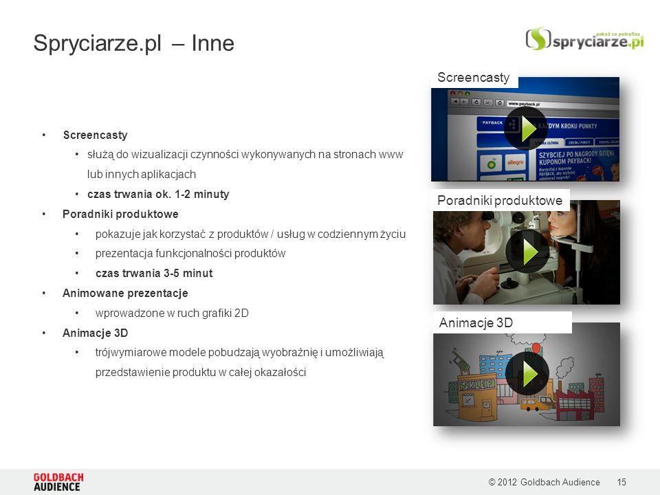 © 2012 Goldbach Audience Spryciarze.pl – Inne 15 Screencasty służą do wizualizacji czynności wykonywanych na stronach www lub innych aplikacjach czas trwania ok.