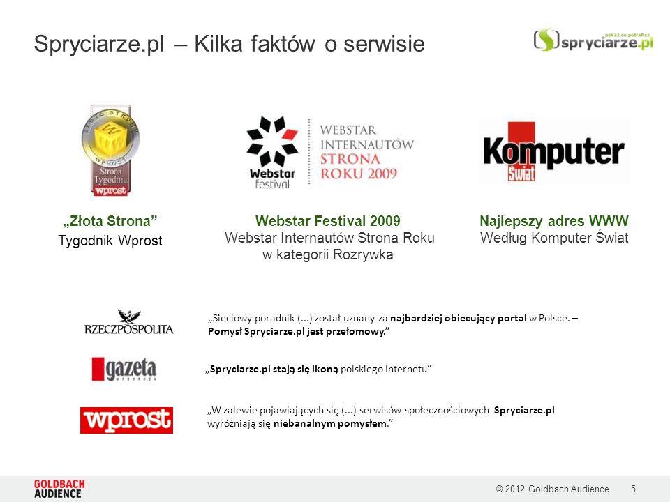 © 2012 Goldbach Audience Spryciarze.pl – Kilka faktów o serwisie Sieciowy poradnik (...) został uznany za najbardziej obiecujący portal w Polsce.