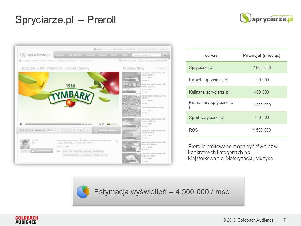 © 2012 Goldbach Audience Spryciarze.pl – Preroll Estymacja wyświetleń – 4 500 000 / msc. Prerolle emitowane mogą być również w konkretnych kategoriach