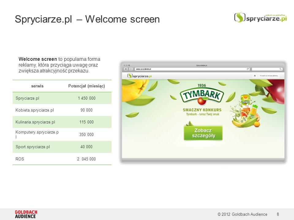 © 2012 Goldbach Audience Spryciarze.pl – Welcome screen Welcome screen to popularna forma reklamy, która przyciąga uwagę oraz zwiększa atrakcyjność przekazu.
