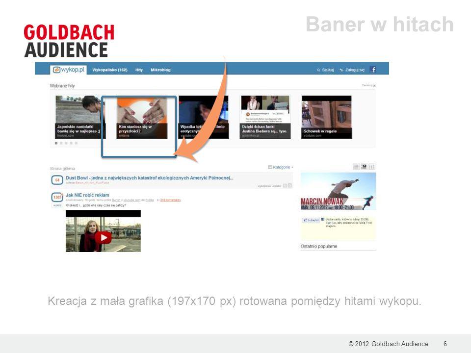 © 2012 Goldbach Audience6 Baner w hitach Kreacja z mała grafika (197x170 px) rotowana pomiędzy hitami wykopu.