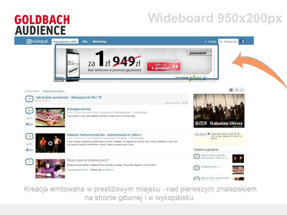 Wideboard 950x200px Kreacja emitowana w prestiżowym miejscu - nad pierwszym znaleziskiem na stronie głównej i w wykopalisku.