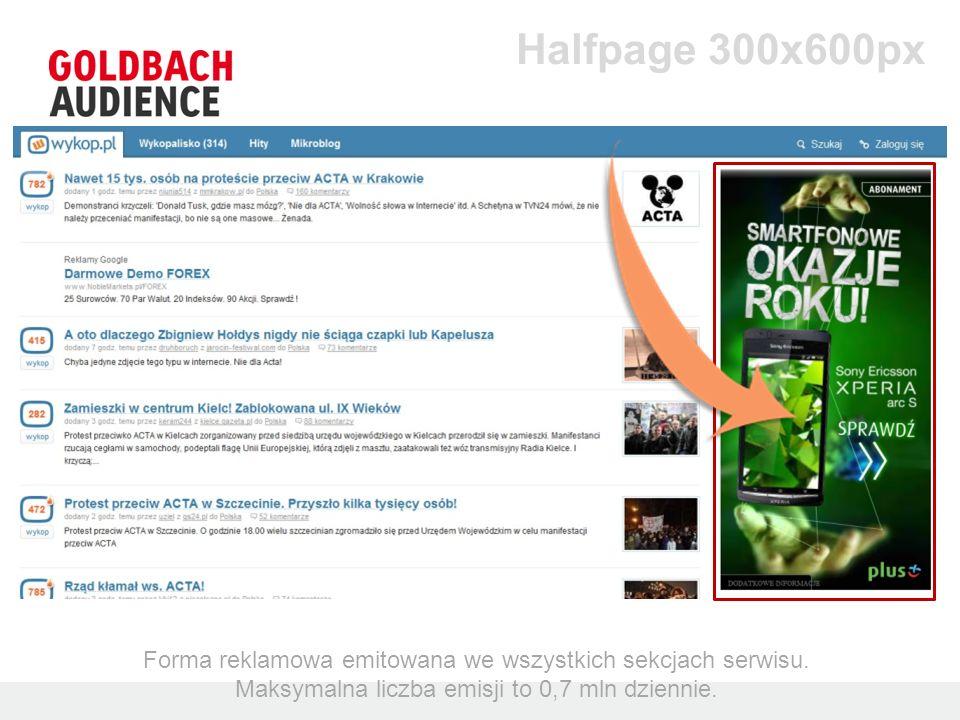 Halfpage 300x600px Forma reklamowa emitowana we wszystkich sekcjach serwisu. Maksymalna liczba emisji to 0,7 mln dziennie.
