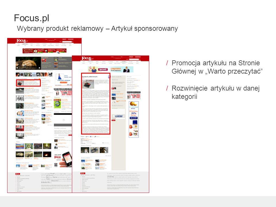 /Promocja artykułu na Stronie Głównej w Warto przeczytać /Rozwinięcie artykułu w danej kategorii Focus.pl Wybrany produkt reklamowy – Artykuł sponsoro