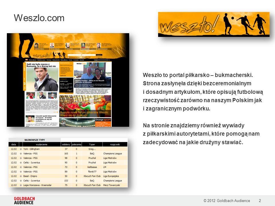 © 2012 Goldbach Audience3 Kim jest użytkownik weszlo.