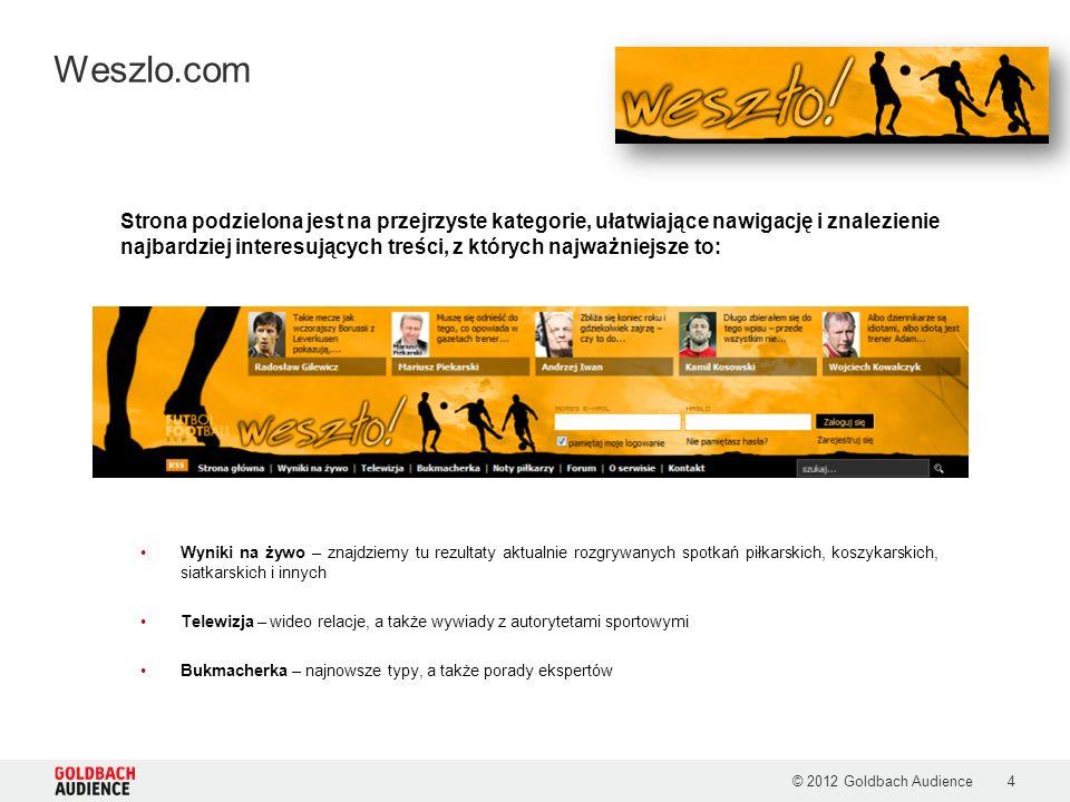 © 2012 Goldbach Audience5 Weszlo.com Dostępne formy reklamowe: 1.RECTANGLE 300x250 2.DOUBLE BILLBOARD 750x200 3.SKYSCRAPER 120x600 4.HALFPAGE 300x600 1 1 2 2 3 3 4 4