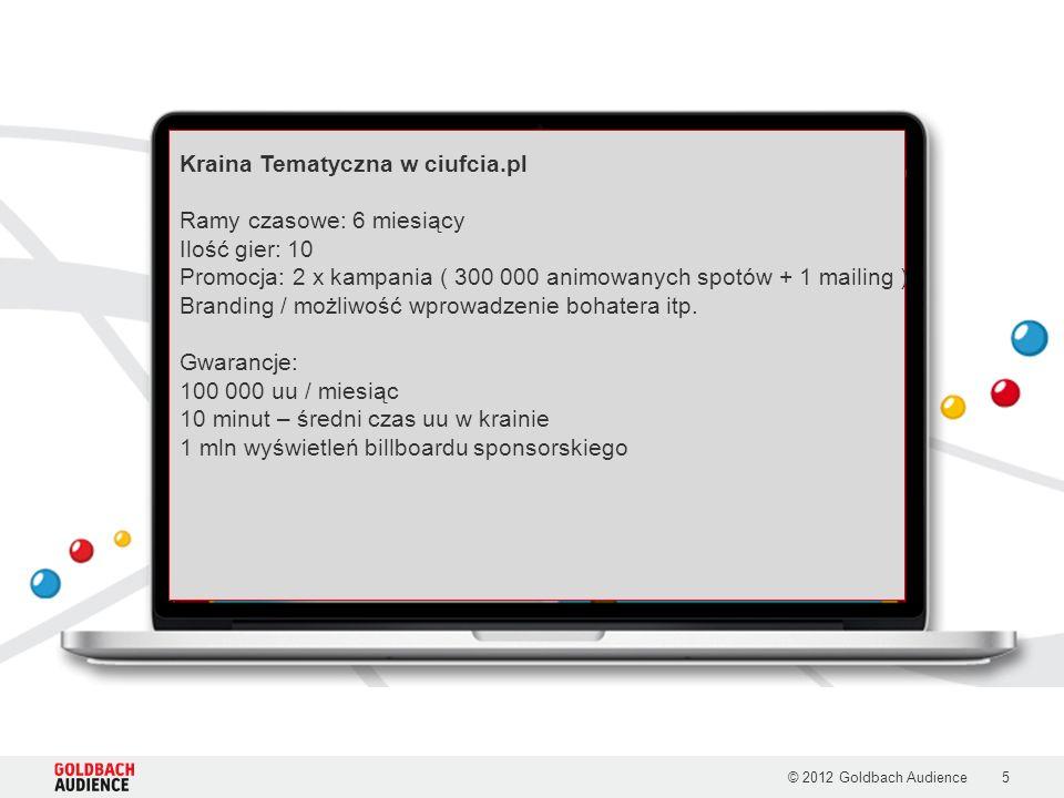 5 Kraina Tematyczna w ciufcia.pl Ramy czasowe: 6 miesiący Ilość gier: 10 Promocja: 2 x kampania ( 300 000 animowanych spotów + 1 mailing ) Branding / możliwość wprowadzenie bohatera itp.