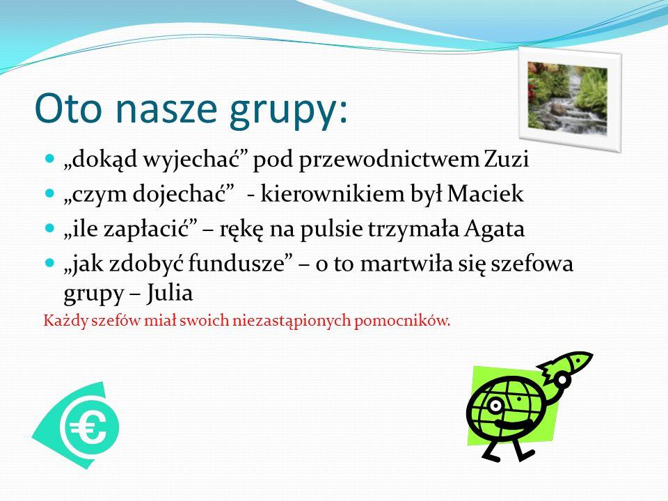 Oto nasze grupy: dokąd wyjechać pod przewodnictwem Zuzi czym dojechać - kierownikiem był Maciek ile zapłacić – rękę na pulsie trzymała Agata jak zdobyć fundusze – o to martwiła się szefowa grupy – Julia Każdy szefów miał swoich niezastąpionych pomocników.