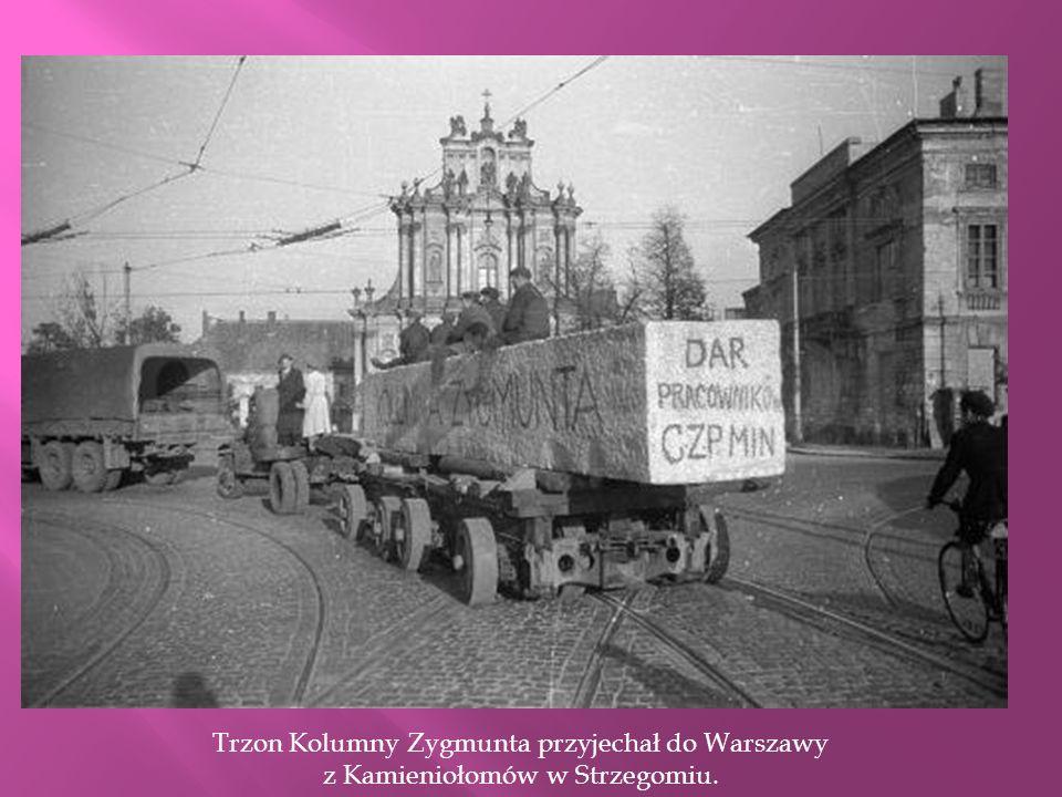 Zniszczona Kolumna Zygmunta po II wojnie światowej