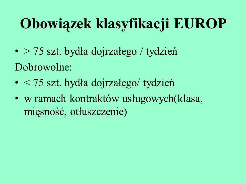 Obowiązek klasyfikacji EUROP > 75 szt. bydła dojrzałego / tydzień Dobrowolne: < 75 szt. bydła dojrzałego/ tydzień w ramach kontraktów usługowych(klasa