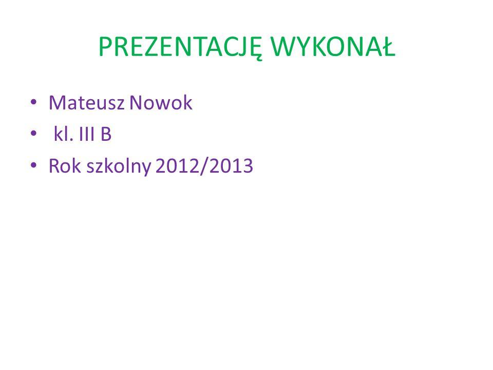 PREZENTACJĘ WYKONAŁ Mateusz Nowok kl. III B Rok szkolny 2012/2013
