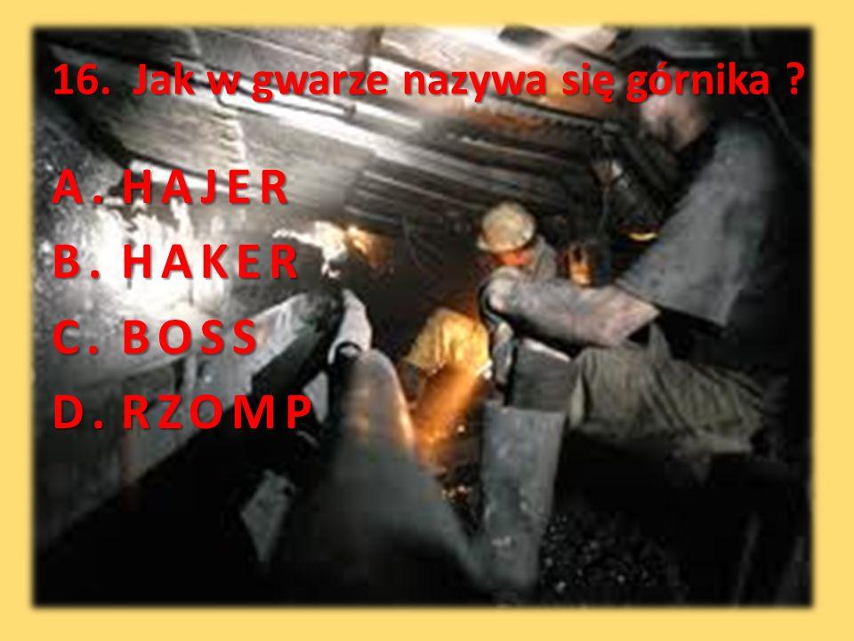 16. Jak w gwarze nazywa się górnika ? A.HAJER B.HAKER C.BOSS D.RZOMP