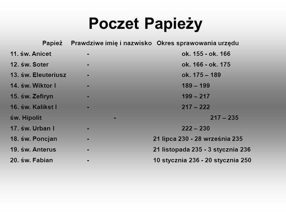 Poczet Papieży PapieżPrawdziwe imię i nazwiskoOkres sprawowania urzędu 121.