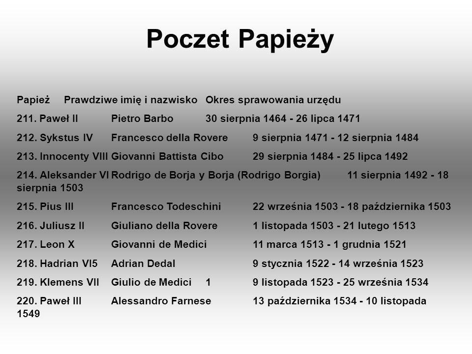 Poczet Papieży PapieżPrawdziwe imię i nazwiskoOkres sprawowania urzędu 211. Paweł IIPietro Barbo30 sierpnia 1464 - 26 lipca 1471 212. Sykstus IVFrance