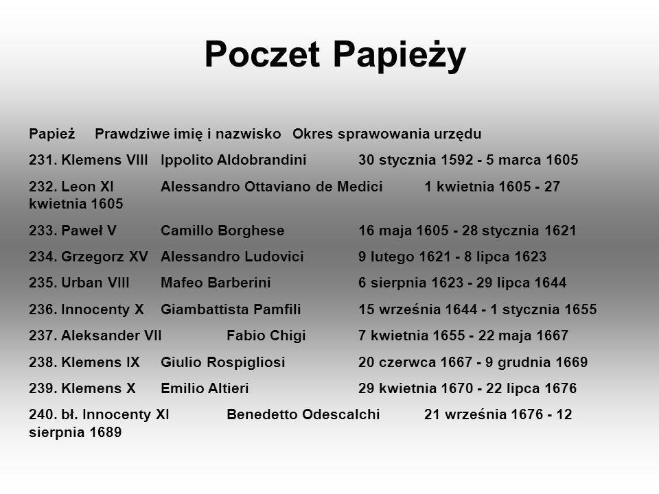 Poczet Papieży PapieżPrawdziwe imię i nazwiskoOkres sprawowania urzędu 231. Klemens VIIIIppolito Aldobrandini30 stycznia 1592 - 5 marca 1605 232. Leon