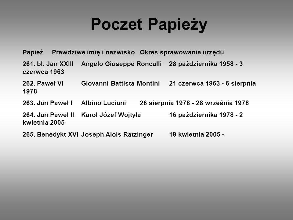 Poczet Papieży PapieżPrawdziwe imię i nazwiskoOkres sprawowania urzędu 261. bł. Jan XXIIIAngelo Giuseppe Roncalli28 października 1958 - 3 czerwca 1963