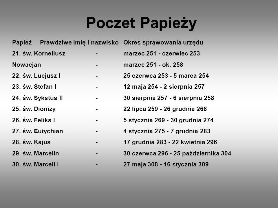 Poczet Papieży PapieżPrawdziwe imię i nazwiskoOkres sprawowania urzędu 21. św. Korneliusz-marzec 251 - czerwiec 253 Nowacjan-marzec 251 - ok. 258 22.