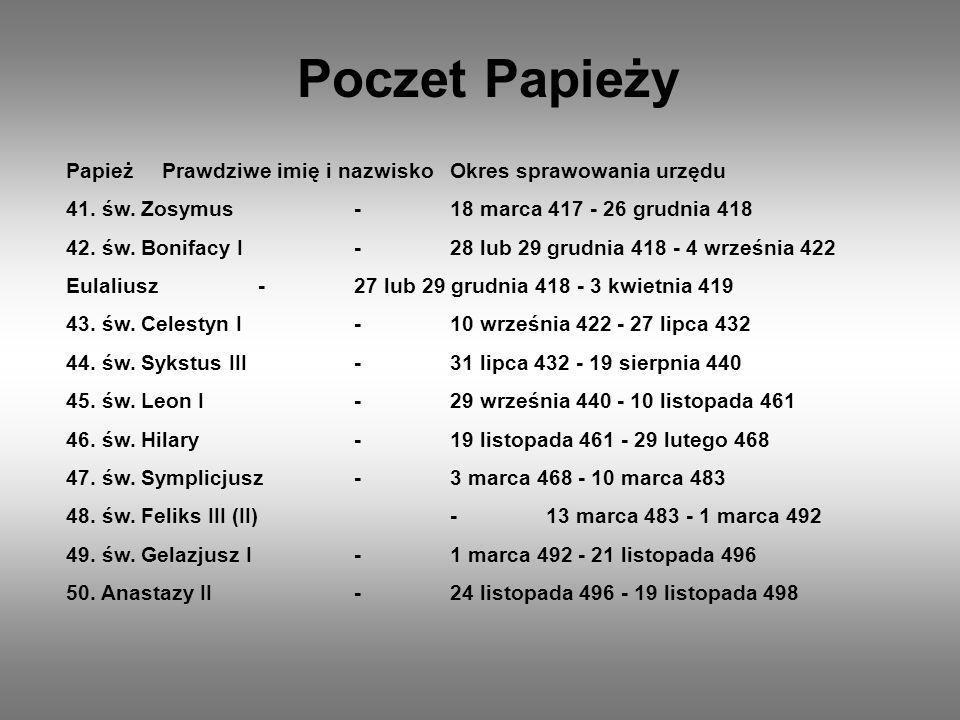 PapieżPrawdziwe imię i nazwiskoOkres sprawowania urzędu 251.